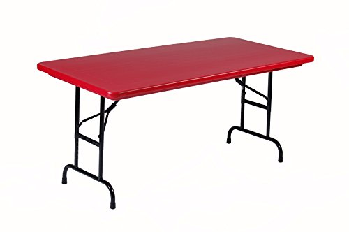 Correll RA3060-25 R Series, Adjustable Height Blow Molded Plastic Commercial Duty Folding Table, Rectangular, 30'' x 60'', Deep Red by Correll