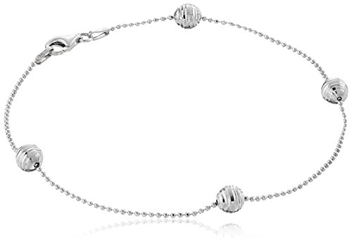 Sterling Silver Italian Diamond Cut Bead Station Anklet, 9