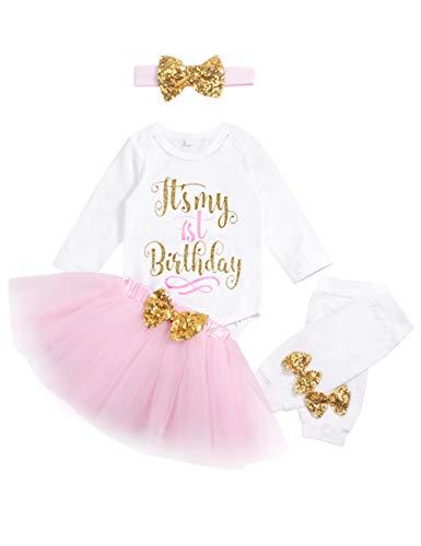 My 1st Birthday Baby Girl Romper & Tutu Skirt & Headband & Leg Warmer Outfit Set 12 Months ()
