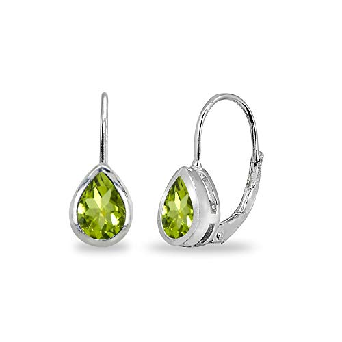 Sterling Silver Peridot 7x5mm Teardrop Bezel-Set Dainty Leverback Earrings for Women Teen Girls