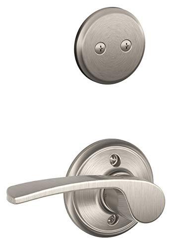 (Schlage F93PLY619MER(RH) Plymouth Dummy Door Handle Set with Merano Right Hand Interior, Satin Nickel)