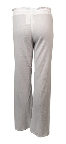 Miken Womens Crinkled Cotton Pocket Swim Cover Pants (XS, Bright White) by Miken (Image #2)
