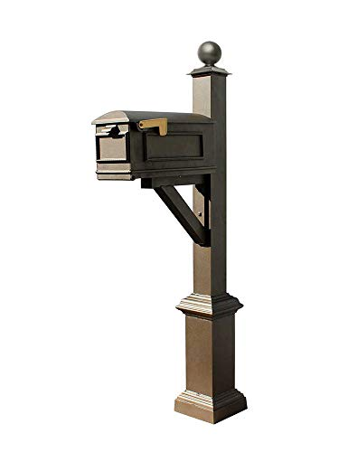 (Qualarc WPD-SB1-S4-LMC-BZ Westhaven Cast Aluminum Post Mount System with Lewiston Mailbox, Square Base and Large Ball Finial, Ships in 2 Boxes, Bronze)