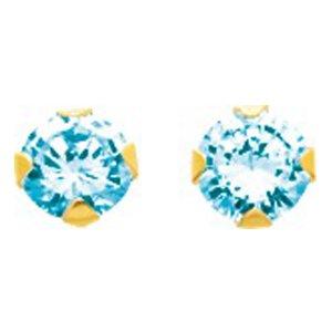 So Chic Bijoux © Boucles d'oreilles Femme Puces 5 mm Topaze Bleu Or Jaune 750/000 (18 carats)