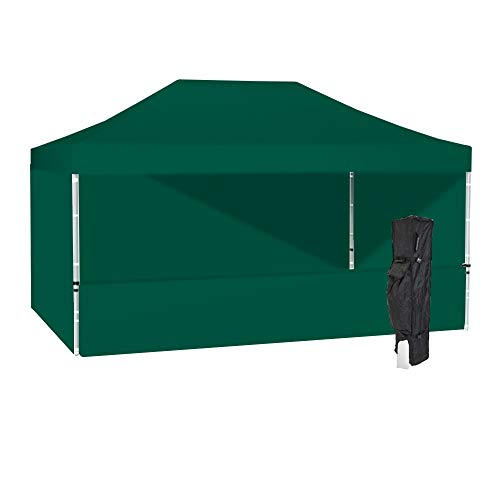 10ft Frame Aluminum (Vispronet 10x15 Green Canopy Tent Kit – Resists up to 30mph Wind Gusts – Includes 10ftx15ft Aluminum Frame, Water-Resistant Top, Back Wall, 2 Full Side Walls, 1 Half Wall, Roller Bag and a Stake Kit)