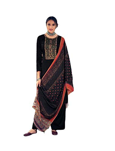 DS Collection Womens Pakistani Beautiful Embroidered Suits Colorful Party & Occasional Wear Pure Original Jam Satin Digital Print With Printed Mal-Mal Dupatta Dress Material