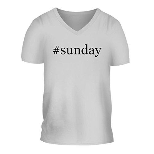 #Sunday - A Nice Hashtag Men's Short Sleeve V-Neck T-Shirt Shirt, White, Large -
