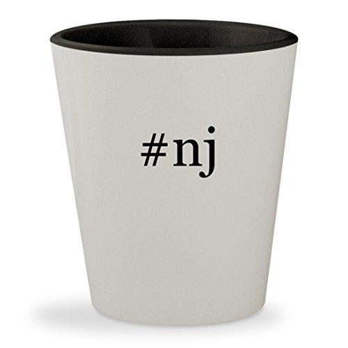 #nj - Hashtag White Outer & Black Inner Ceramic 1.5oz Shot - Glass Flemington