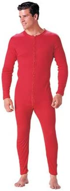 Red Essential Apparel Mens Waffle Knit Heavyweight Thermal Long Underwear Union Suit