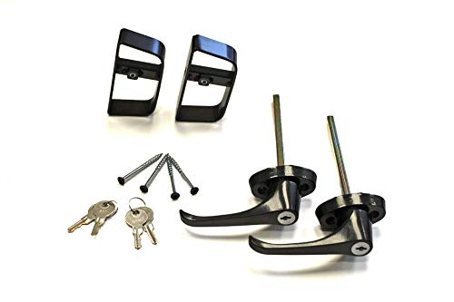 "Doors & Door Hardware 5-1/2"" Black L Handle Door Lock Set - For shed, gate, playhouse - 2 KEYED ALIKE"