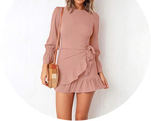 Women Solid Mini Dress Spring Summer Lantern Sleeve O-Neck Office Dress Bandage Slim A-Line Dresses,Minute,XL