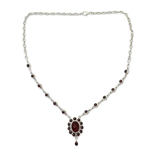 NOVICA Garnet .925 Sterling Silver Pendant Necklace, 18.5
