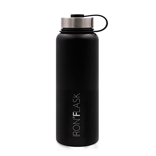 Iron Flask - 40 Oz, Vacuum Insulated Stainless Steel Water Bottle, Hot & Cold, Wide Mouth, Simple Lid, Double Walled, Thermo Modern Travel Mug, Hydro Canteen Powder Coated