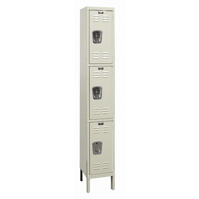 Hallowell U1228-3G-A-PT / U1258-3G-A-PT / U1288-3G-A-PT Galvanite One Wide Triple Tier Locker in Parchment (Assembled) Size: 78