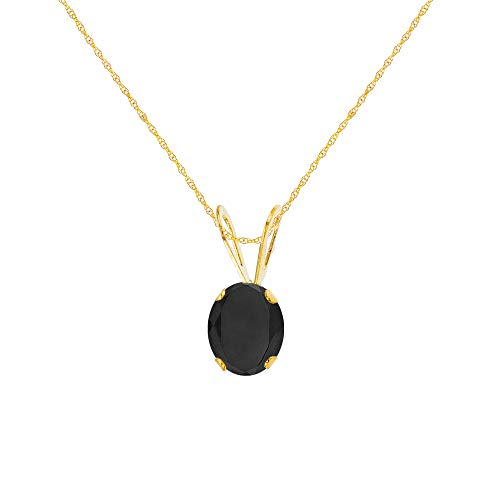 (Genuine 10K Solid Yellow Gold 6x4mm Oval Black Onyx Birthstone 18