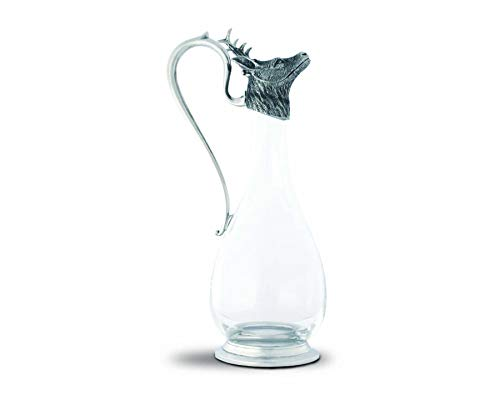 Vagabond House Wine Decanter Handblown Glass with Pewter Deer Head Spout and Pewter Handle and Base 12.5