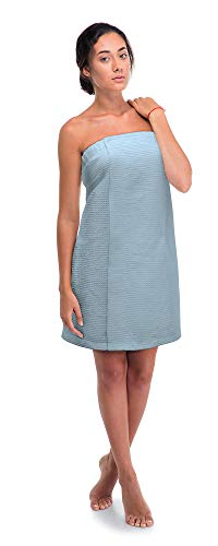 Premium Turkish Cotton Women's Waffle Spa Body Wrap with Adjustable Closure (XX-Large, Light Blue)
