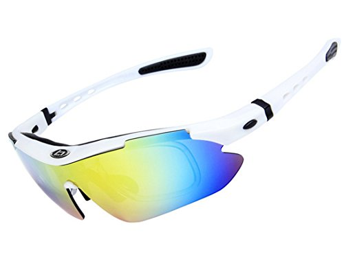 Wonzone Polarized UV Protection Sunglasses for Men Women Sports Glasses Cool Goggles with 5 Interchangeable Lens for Bicycling, Fishing, Golf, Driving, Skiing and All Outdoor Activities ()