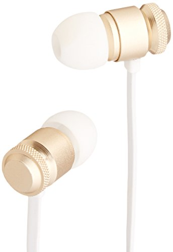 AmazonBasics In-Ear Headphones with Flat Cable and Universal Mic - Gold
