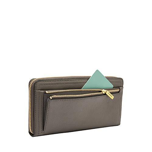 Fossil Women's Logan Leather RFID-Blocking Zip Around Clutch Wallet with Wristlet Strap 6