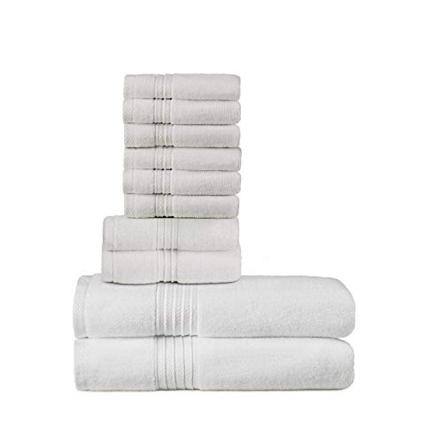 TowelPro Luxury Premium Soft 100% Woven Cotton Highly Absorbent Machine Washable Multi-Purpose, Hotels, Spa, Home Towels Set of 10-2 Bath Towels, 2 Hand Towels, 6 Wash Cloths (White)