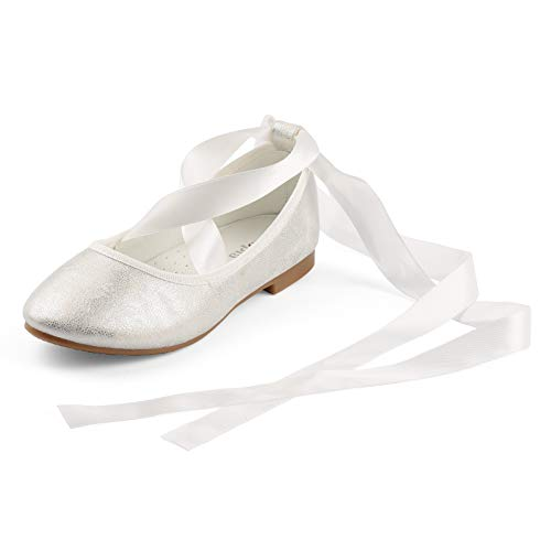 - Nova Utopia Toddler Little Girls Dress Ballet Flat Shoes wth Ribbons,NF Utopia Girl NFGF315 Silver 1