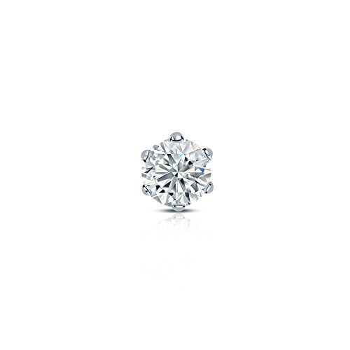 Diamond Wish 14k White Gold Single Stud Round Diamond Earring (1/8 carat TW, O. White, I2-I3) 6-Prong Basket, Screw-Back