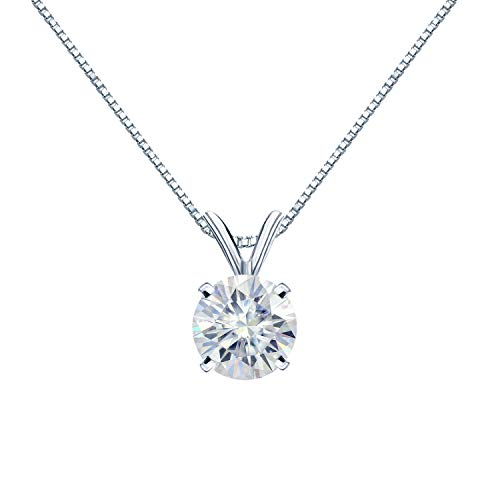 Diamond Wish 18K White Gold Round Moissanite Solitaire Pendant 8mm 1.75 TGW in 4-Prong Basket (O.White) 18