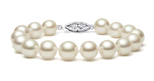 7mm Aa Japanese Akoya Pearl - Sterling Silver Cream Japanese Akoya Cultured Pearl Bracelet AA+ Quality (6.5-7mm), 7