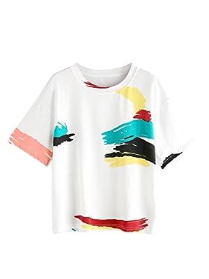 Romwe Women's Cute Graffiti T-Shirt Color Print Tee Top