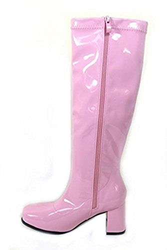 New Women's Ladies Fancy Dress 1960's & 70's Knee High Go Go Retro Boots Size UK 3-12 Pink