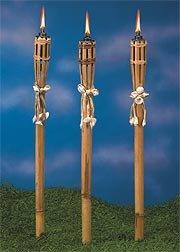 Bamboo and Seashell Tiki Torches Set of ()
