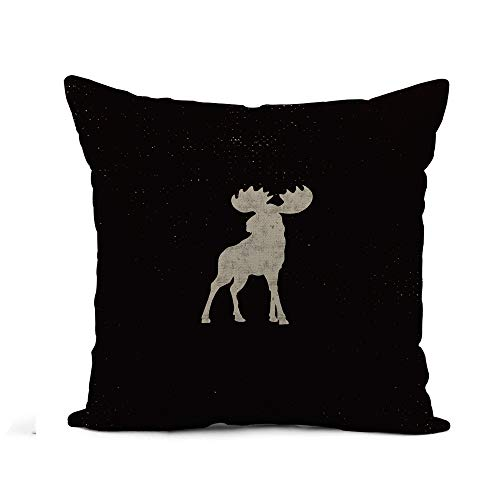 Pictogram Tee - Awowee Flax Throw Pillow Cover Silhouette Moose Letterpress Effect Retro Pictogram Infographics Tee Badge 18x18 Inches Pillowcase Home Decor Square Cotton Linen Pillow Case Cushion Cover