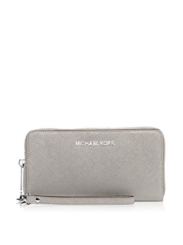 MICHAEL Michael Kors Jet Set Travel Large Flat Multifunction Phone Case in Pearl Grey by Michael Kors