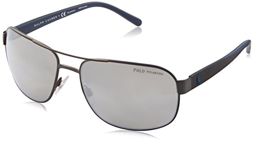 Polo Ralph Lauren Men's Metal Man Sunglass Polarized Aviator, MATTE DARK GUNMETAL, 62 mm ()