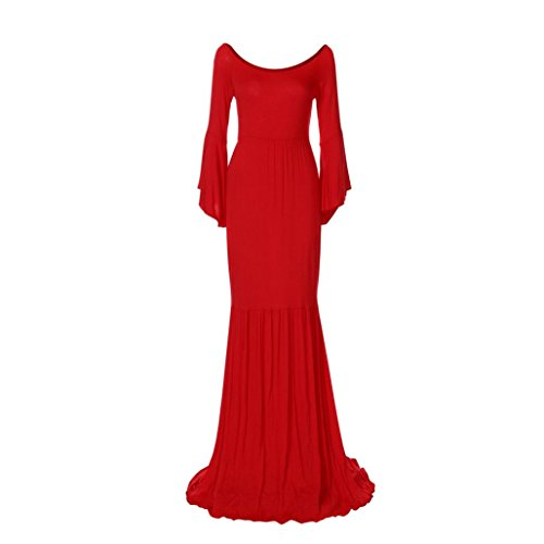 Maternity Off Shoulders Dress for Photo Shoot, Long Mermaid Gown for Baby Shower, Flare Sleeve Long Dress for Women (Red, M) by WuyiM-Dress