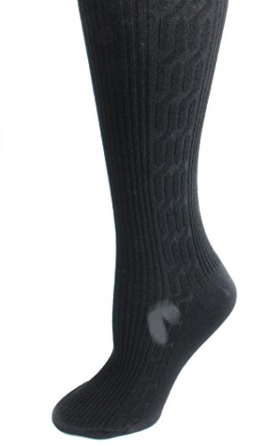 Ribbed Cable Knit Cotton Blend Sweater Tights (S/M (90-135lbs)) ()