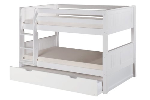 Camaflexi Panel Style Solid Wood Low Bunk Bed with Trundle, Twin-Over-Twin, Side Attached Ladder, White