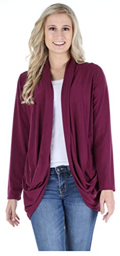 PajamaMania Women's Sleepwear Lightweight Knit Long Sleeve Open Front Slouch Cardigan Wrap, Burgundy (PMR1821-2071-L/XL)