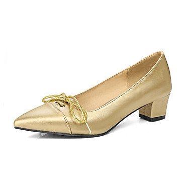 Talones de las mujeres de primavera y verano Otros de cuero del vestido ocasional de tacón grueso Otros Gris Plata Oro Gold