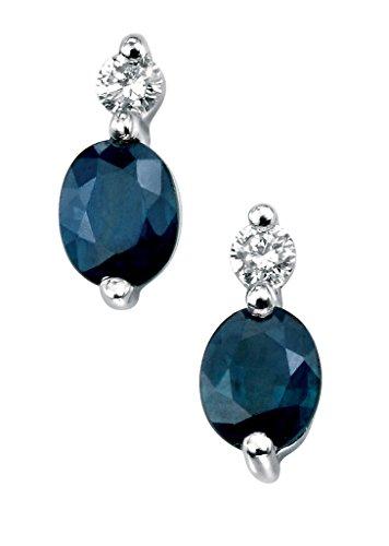 Boucles d'oreilles or blanc 9carats Diamant et Saphir