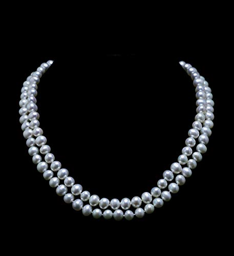 Double Strand Pearl Necklace 7mm - 7.5mm Genuine Cultured Freshwater Pearls (18 Inches)