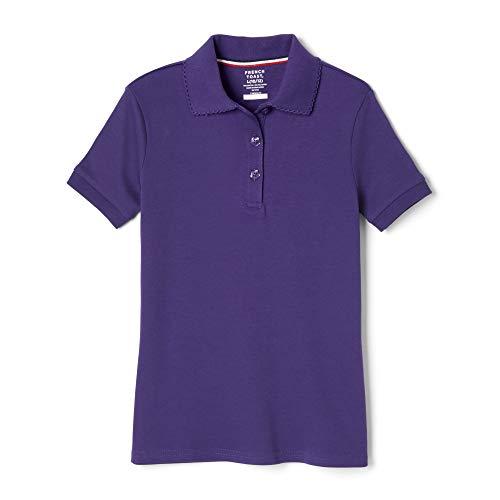 (French Toast Girls' Big Short Sleeve Interlock Polo with Picot Collar (Standard & Plus), Purple, XXL (18/20) )