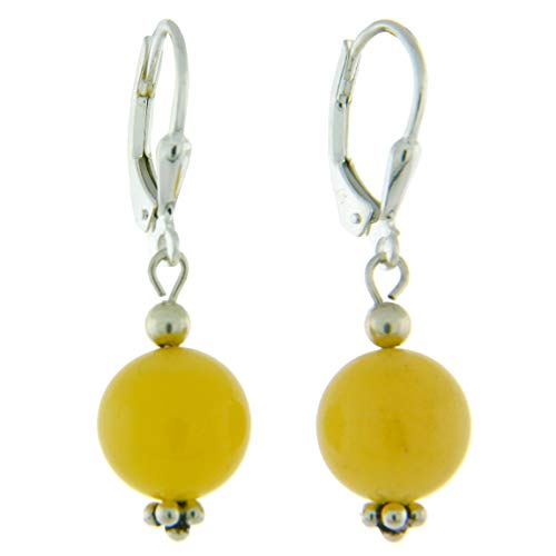 Sterling Silver 10mm Gemstone Bead Lever Back Bottom Dot Flower Earrings, Yellow Jade