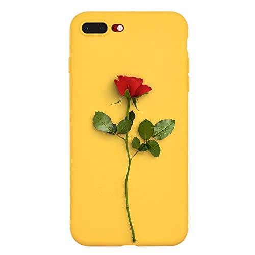 LuGeKe Red Rose Flower Phone Case Cover Slim fit Flexible Yellow Matte Phone Cover Shell for iPhone X/iPhone 10/iPhone Xs Drop Protection Reinforced Protector ()