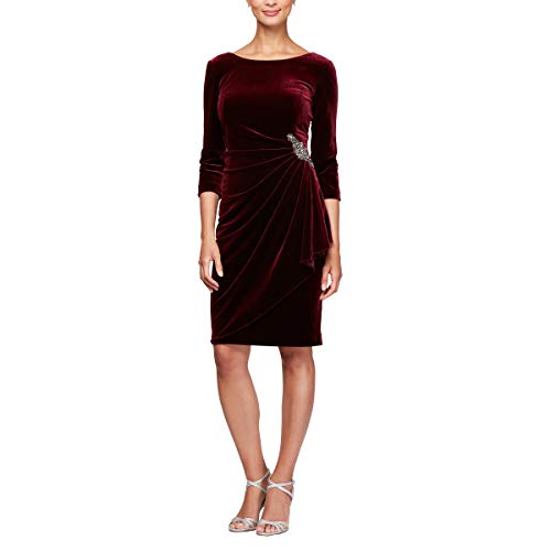 Alex Evenings Women's Velvet Dress with Sleeve and Hip Detail (Regular and Petite), Wine, 6