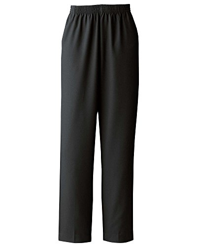 (Donnkenny Elastic-Waist Gabardine Pull-On Pants, Black, 14)