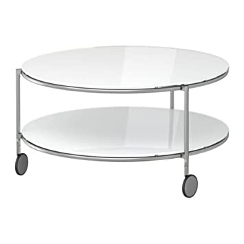 Ikea Strind Table Basse Blanc Nickele 75 Cm Amazon Fr