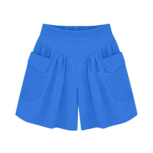 Yoyorule Summer Clothes&Pants Women Plus Size Solid Loose Hot Pants Pockets Lady Summer Casual Shorts Blue