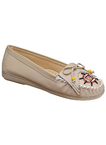 Carol Wright Gifts Leather Moccasins | Beaded Leather Moccasins for Women, Color Natural, Size 9 (Medium), Natural, Size 9 - Beaded Moccasins